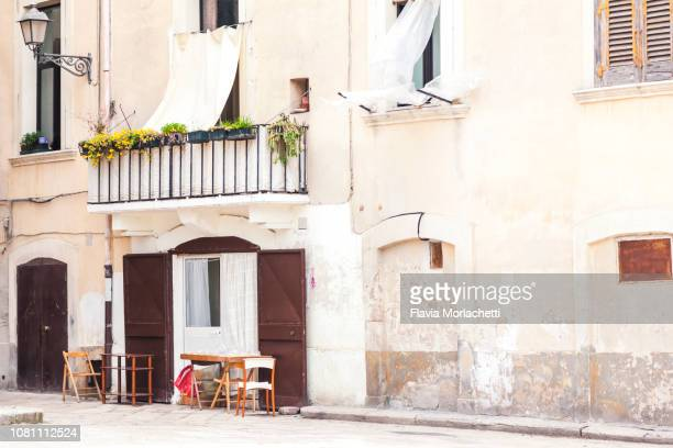 streets of bari, italy - bari stock photos and pictures