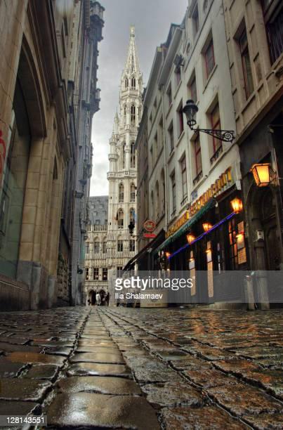 streets of brussels after rain. belgium - regione di bruxelles capitale foto e immagini stock
