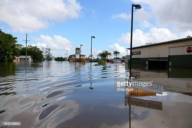 Streets of Bundaberg underwater as parts of southern Queensland experiences record flooding in the wake of Tropical Cyclone Oswald on January 30 2013...