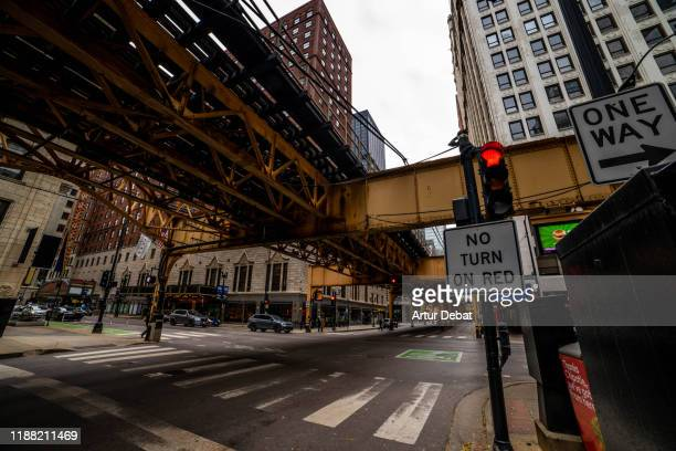 streets of chicago downtown loop with the elevated train. - the americas ストックフォトと画像