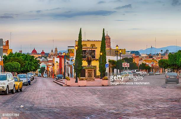 Streets of downtown Queretaro, Mexico at dawn