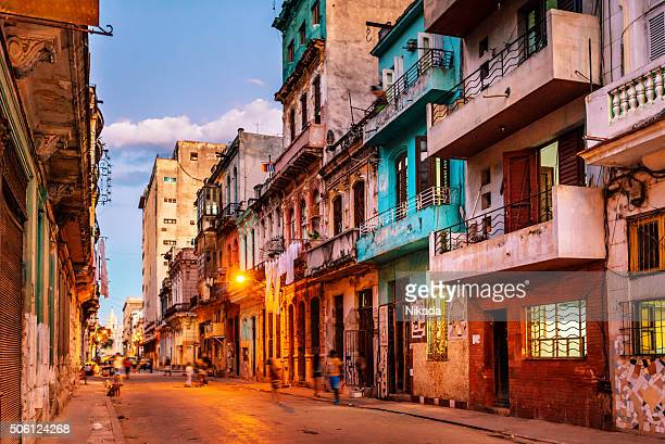 streets of havana, cuba at dusk - old havana stock pictures, royalty-free photos & images