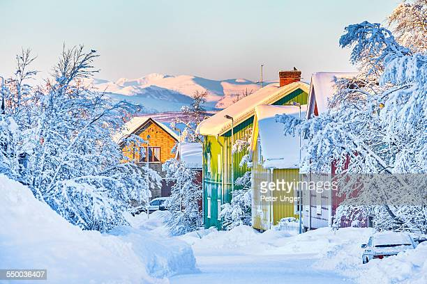 streets of kiruna covered in snow - swedish lapland stock photos and pictures