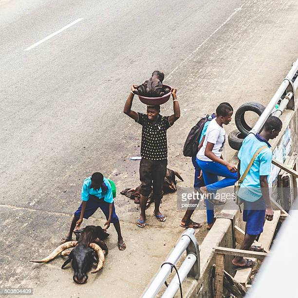 streets of lagos, nigeria. - lagos stock photos and pictures