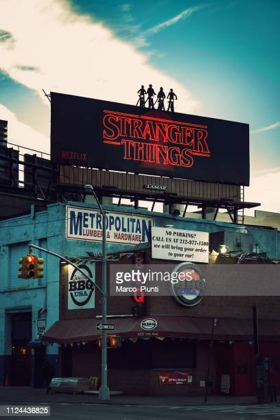 streets of manhattan in new york city - stranger things television show stock photos and pictures