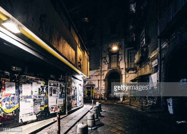 """streets of old town by night - naples, italy - """"peeter viisimaa"""" or peeterv stock pictures, royalty-free photos & images"""