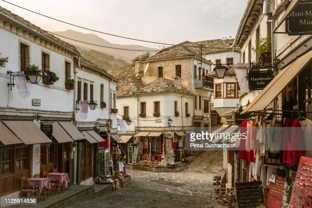 streets of old town gjirokaster, albania - albanië stockfoto's en -beelden