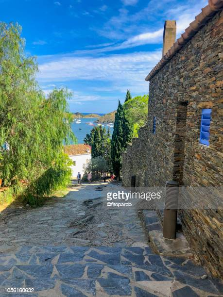 streets of port lligat - pinaceae stock pictures, royalty-free photos & images