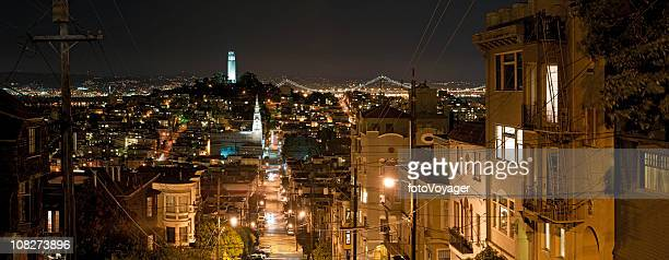 Streets of San Francisco night Coit Tower Bay Bridge panorama