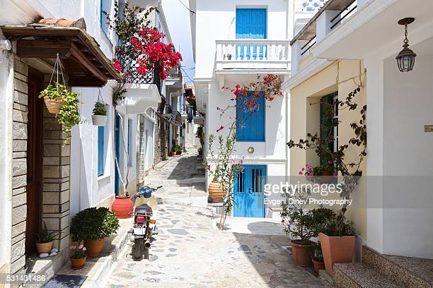 streets of skopelos - volos stock pictures, royalty-free photos & images