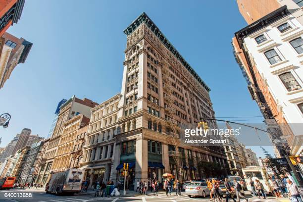 streets of soho, new york city, usa - broadway manhattan stock photos and pictures