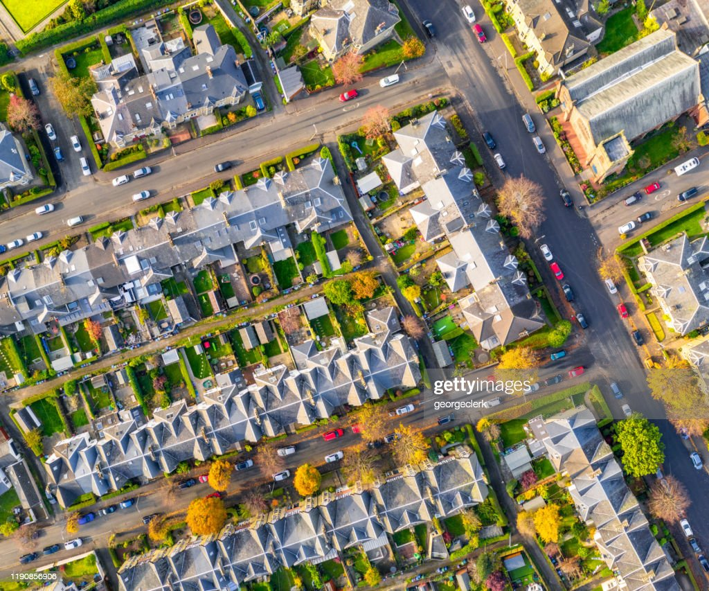 Straten van rijtjeshuizen van bovenaf : Stockfoto