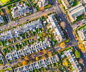 Streets of terraced houses from above