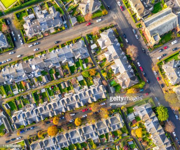 streets of terraced houses from above - grounds stock pictures, royalty-free photos & images