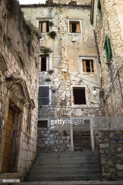 Streets of the old town of Sibenik, Croatia