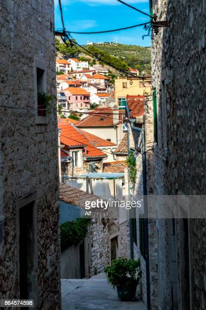 Streets of the upper part of the old town of Sibenik, Croatia