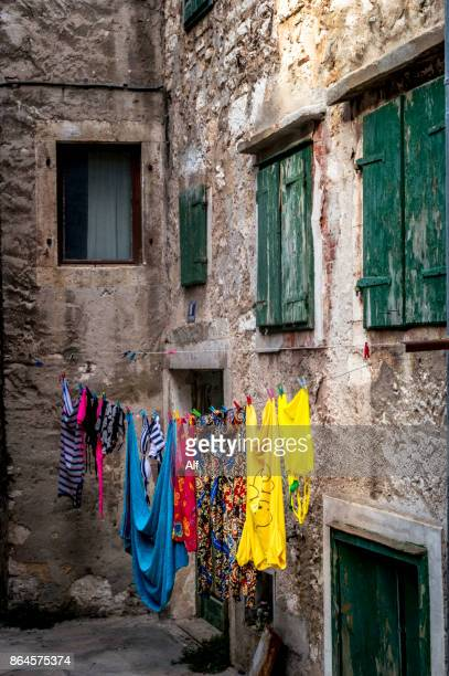streets of the upper part of the old town of sibenik, croatia - architectural cornice stock photos and pictures