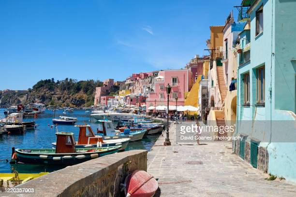 streets on the island of procida off the coast of naples in italy - naples italie photos et images de collection