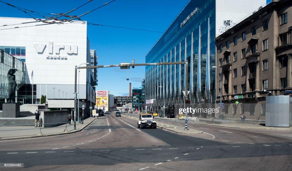 Streets, shops and traffic in Tallinn, Estonia : Stock Photo