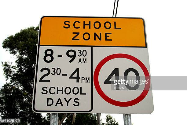streetsign: school zone - number 40 stock photos and pictures