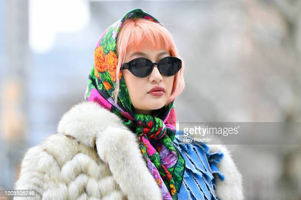 Streetstyle seen outside Spring Studios during New York Fashion Week: The Shows - Day 4 at Spring Studios on February 09, 2020 in New York City.