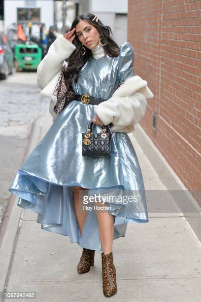 Streetstyle view of a guest arriving to Spring Studios during New York Fashion Week The Shows at Spring Studios on February 11 2019 in New York City