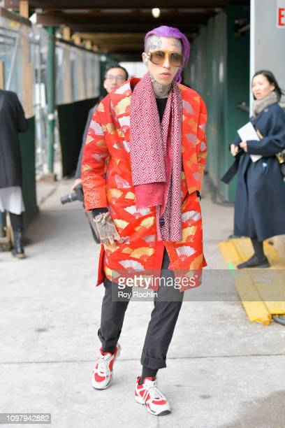 Streetstyle view of Chris Lavish arriving to Spring Studios during New York Fashion Week The Shows at Spring Studios on February 11 2019 in New York...