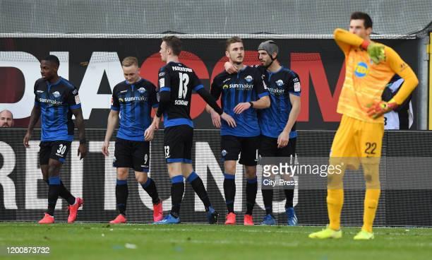 Streli Mamba Kai Proeger Sebastian Schonlau Dennis Srbeny and Klaus Gjasula of SC Paderborn celebrate after scoring the 11 during the game between...