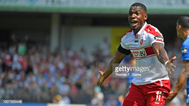 Streli Mamba of Cottbus reacts during the 3. Liga match between FC Energie Cottbus and F.C. Hansa Rostock at Stadion der Freundschaft on July 29,...