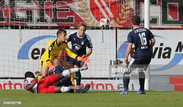 Streli Mamba of Cottbus scores the third goal during the 3. Liga match between FC Energie Cottbus and FSV Zwickau at Stadion der Freundschaft on...