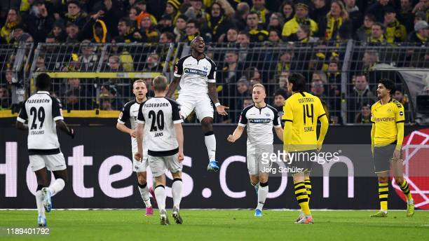 Streli Mamba of SportClub Paderborn celebrates scoring his teams first goal of the game with team mates during the Bundesliga match between Borussia...