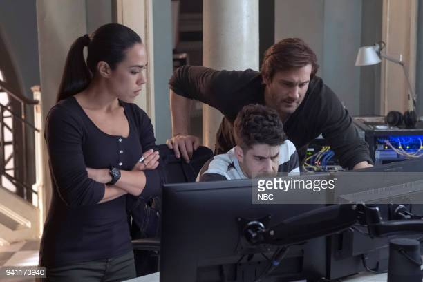 "Strelochnik"" Episode 208 -- Pictured: Jessica Camacho as Santana, Adam Goldberg as Kilroy, Clive Standen as Bryan Mills --"