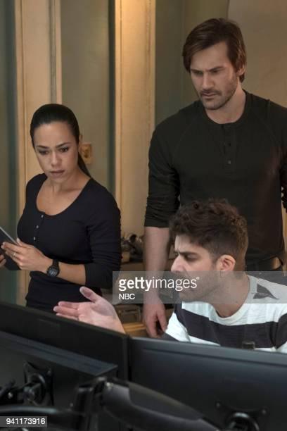 "Strelochnik"" Episode 208 -- Pictured: Jessica Camacho as Santana, Clive Standen as Bryan Mills, Adam Goldberg as Kilroy --"