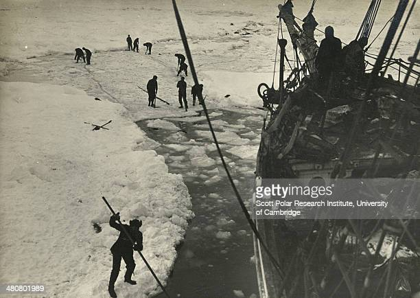 Strenuous endeavours are made to free the 'Endurance' from the ice 14th 15th February 1915 but are ultimately unsuccessful taken during the Imperial...