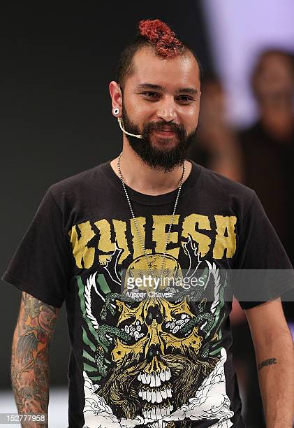 Stres fashion designer Alejandro Muños walks the runway during the first day of Google Fashion Mexico at Estudios Churubusco on September 25 2012 in...