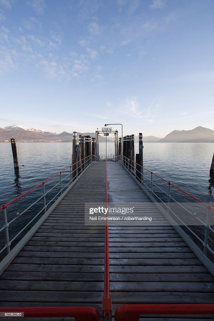 Stresa Pier, Lake Maggiore, Piedmont, Italian Lakes, Italy, Europe : Stock Photo