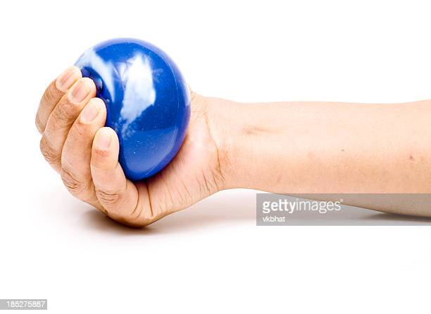 Stress ball in a hand.