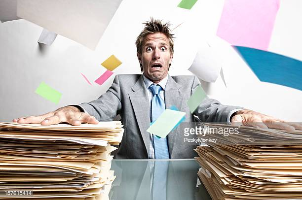 Stressed Businessman Office Worker Panicking at Inbox Chaos on Desk