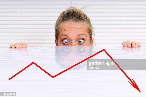 Stressed Businesswoman Analysing Moving Down Graph