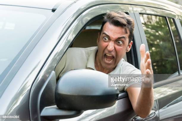Stressed Mature man driving his car