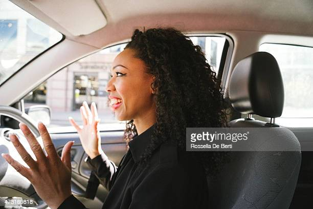 Stressed Woman Driving Car