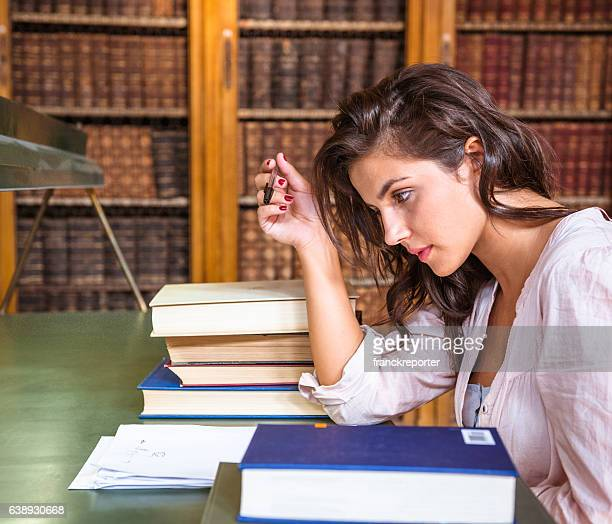stressed woman during an exams on the classroom