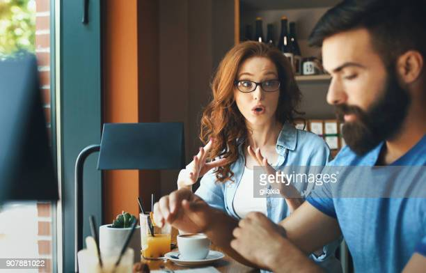 stressful moments - couple arguing stock photos and pictures