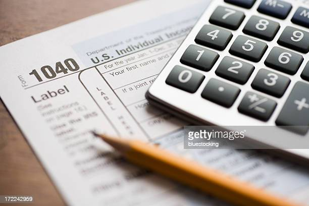 Stressful tax form and finance evaluation background