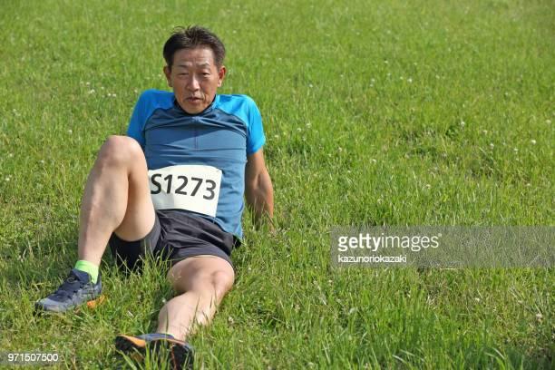 ジョギング後のストレッチします。