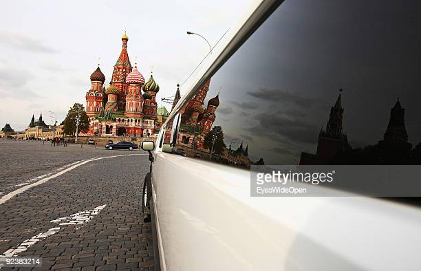 Stretch limousine in front of the Cathedral of Saint Basil on the Red Square on October 14 2009 in Moscow Russia The russian orthodox cathedral was...