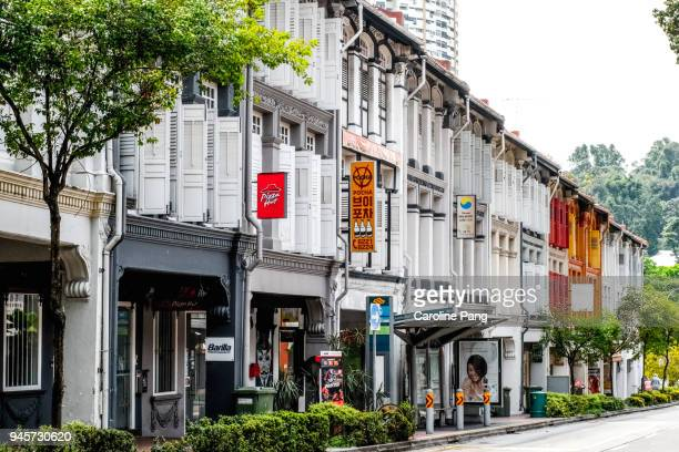 Stretch of conservation shophouses built in the 1920s in Chinatown Singapore.