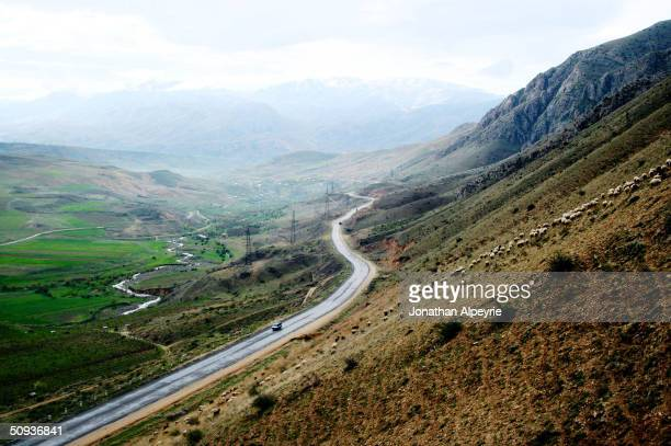 A stretch of road towards NagornoKarabakh about 70 miles from the Lachin corridor is seen April 25 2004 in Armenia This road is the highest in...