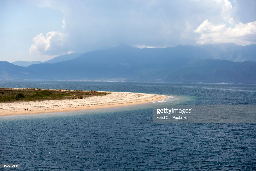 A stretch of sand at Keramoti, Kavala regional unit, East Macedonia and Thrace, Northern Greece : Stock Photo