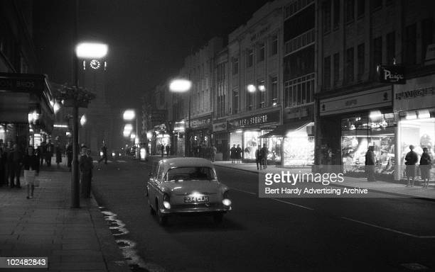 A stretch of the M1 at nighttime as it passes through Luton 24th August 1961